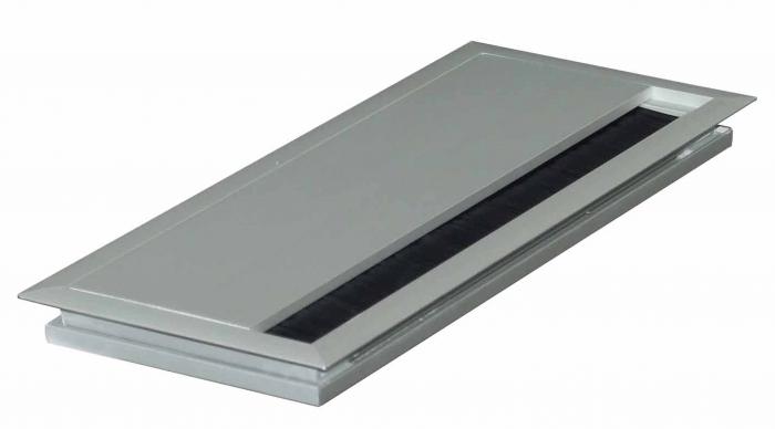 Kabeldurchlass 100x240x13mm Aluminium mit Soft Close Verschluss