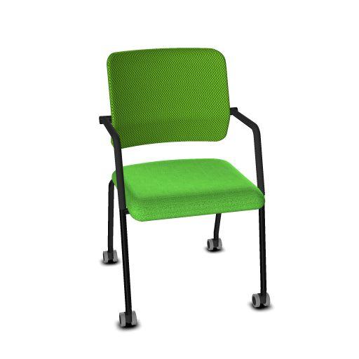 Viasit Drumback Konferenzstuhl 4 Beine schwarz mit Rädern