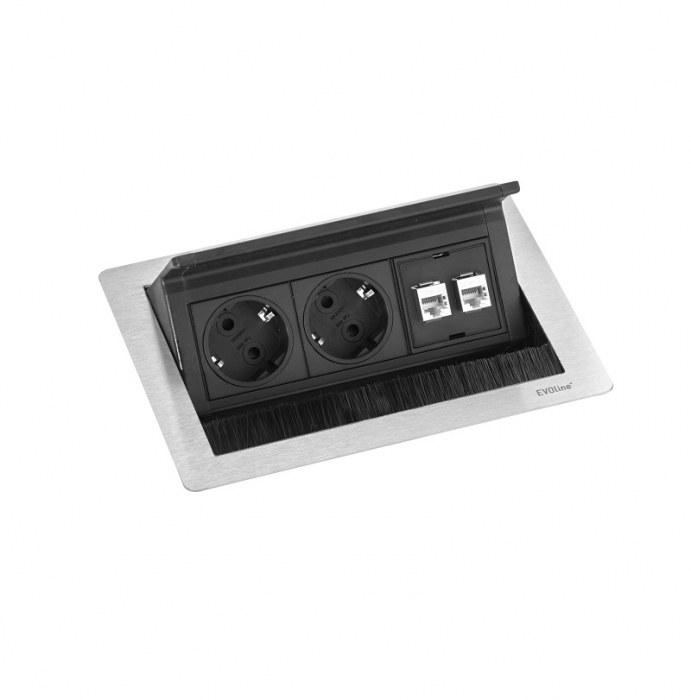 Evoline Powerbox Flip Top Push Small 2x Leistung 2x Daten