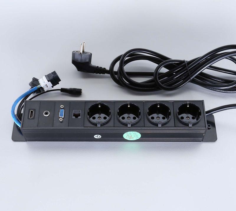 Götessons Powerinlay 4 x Leistung, 1 x Data, 1 x VGA, 1 x Audio en 1 x HDMI